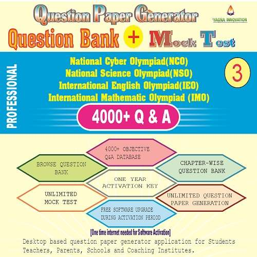 NCO/NSO/IEO/IMO (class-3) Question Bank + Mock Test + Question Paper Generator