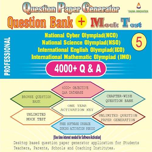 NCO/NSO/IEO/IMO (class-5) Question Bank + Mock Test + Question Paper Generator