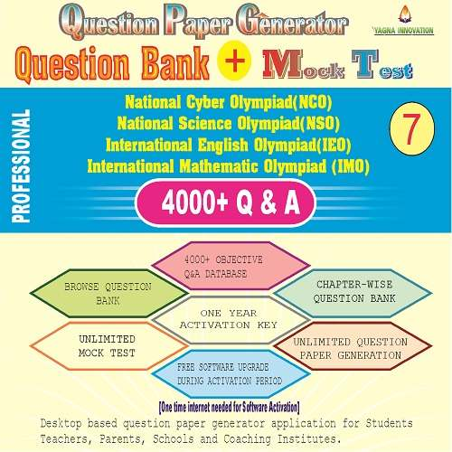 NCO/NSO/IEO/IMO (class-7) Question Bank + Mock Test + Question Paper Generator