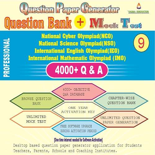 NCO/NSO/IEO/IMO (class-9) Question Bank + Mock Test + Question Paper Generator